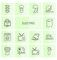 14 electric icons vector image vector image