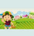 a boy harvest vegetabe vector image