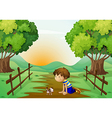 A young boy and his pet in the middle of the vector image vector image