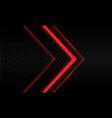 abstract red neon arrow black circle mesh vector image vector image