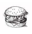 black hand drawn hamburger vector image vector image
