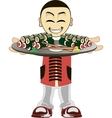 Cartoon asian waiter vector image vector image