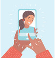 cartoon woman taking selfie photo vector image vector image