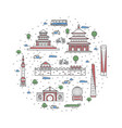 china travel poster in linear style vector image vector image