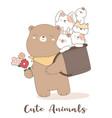 cute baby animal cartoon hand drawn style vector image vector image