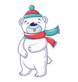 cute bear with winter clothes icon cartoon style vector image