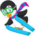cute penguin skiing cartoon vector image
