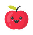 cute smiling apple isolated colorful fruit vector image