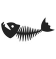fish skeleton black icon scary aqua symbol vector image vector image