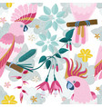 flat pink parrots and exotic flowers pattern vector image vector image
