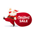 funny cartoon santa claus with huge red bag with vector image vector image