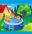 garden with three kids in pool vector image