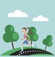 girl jogging nature vector image vector image