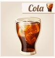 Glass of cola with ice Detailed Icon vector image vector image