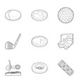 golf accessory icons set outline style vector image vector image