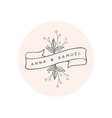 hand drawn floral logo template vector image vector image