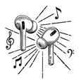 headphones wireless sketch icon vector image