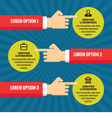 Human hands with information blocks infographic vector image