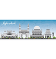 Hyderabad Skyline with Gray Landmarks vector image vector image