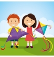 Kite flying in cloudscapes vector image