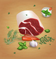 lamb roll with tasty sauces and spices vector image vector image