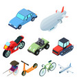 land water air transport machines that people vector image vector image