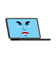 laptop angry emoji face avatar computer evil vector image vector image