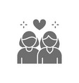 lesbian couple non traditional love grey icon vector image