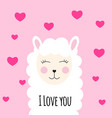 little cute llama with heart for card and shirt vector image