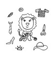lovely hand-drawn lion a needlewoman knits vector image