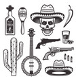 mexican ethnic attributes set objects vector image vector image