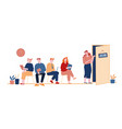 people waiting job interview sitting in office vector image