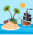 pirates ship and treasures island vector image vector image