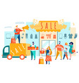 sale advertising man with megaphone near shop vector image vector image
