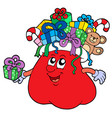 santas bag with gifts isolated vector image vector image