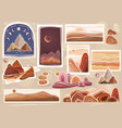 set flat abstract minimalist landscapes vector image vector image