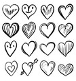 set hand drawn hearts design element vector image vector image