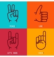 set of outline icons - gestures and signs vector image vector image
