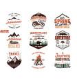 set of vintage adventure tee shirts designs hand vector image