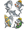 shark cartoon character set vector image