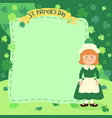 st patricks day girl notes vector image vector image