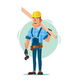 timber frame house construction worker vector image vector image