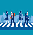 urban people cross road at crosswalk concept vector image