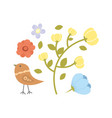 with flowers collection and bird vector image vector image