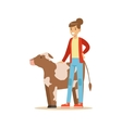 Woman Standing Next To Cow Calf Farmer Working At