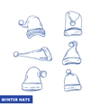 Xmas hat sketch set line art vector image vector image