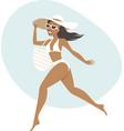 young happy woman wearing bikini vector image vector image