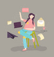 young woman sitting and working with laptop flat vector image vector image