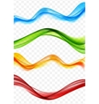Abstract Colored Wave Set on Transparent vector image vector image