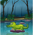 An alligator at the river inside the forest vector image vector image